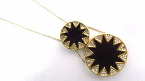 House of Harlow 1960 Sunburst Double Pendant Necklace Black Leather and Crystals