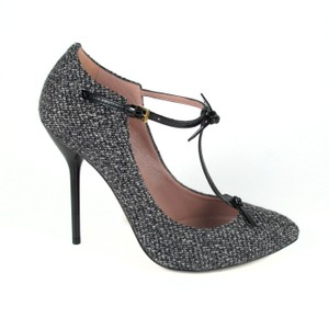 Gucci Tweed Strappy Leather Beverly Gray Black Pumps