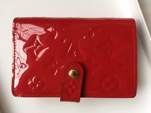 Louis Vuitton Vernis French Wallet red Patent Leather