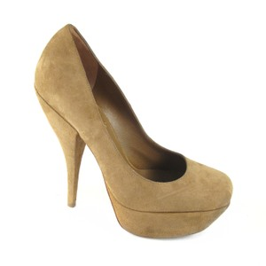 Saint Laurent Suede Platform Tribute Tan Pumps