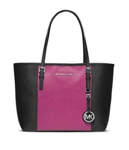 Michael Kors Jet Set Center Stripe Small Tote in Deep Pink Black