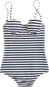 J.Crew J. Crew Underwire Tank Sailor Stripe Swimsuit Size 2