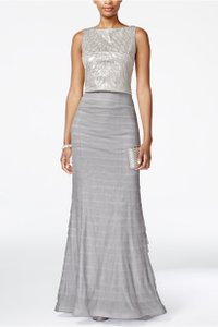 Adrianna Papell Sequin Pleated Sleeveless Gown Dress