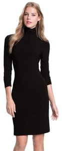 Kamalikulture Jersey Turtleneck Long Sleeve Below Knee Form Fitting Dress