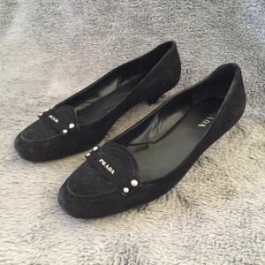 Prada Suede Driving Button Black Flats