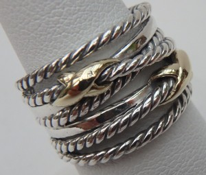 David Yurman like new without pouch Double X Ring With Gold size 7
