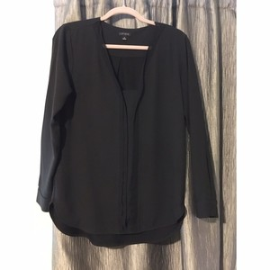 Ann Taylor V-neck Pleated Chiffon Longsleeve Top Black