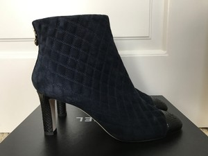 Chanel Quilted Python Suede Navy Blue Boots