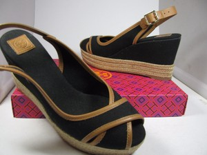 Tory Burch black/ tan Wedges