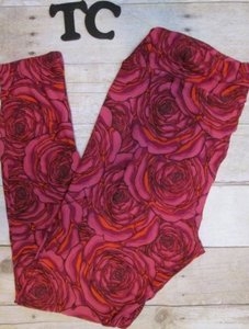 LuLaRoe LuLaRoe Leggings,TC Tall And Curvy Red Roses, Flowers, HTF Unicorn Rare Leggings