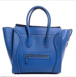 Céline Leather Luggage Mini Tote in Cobait Blue