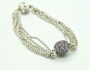 PANDORA Pandora Sterling Silver Multi Chain Bracelet with Beautiful Charm