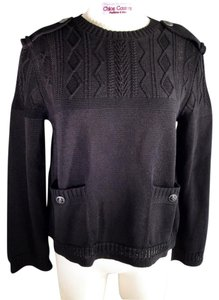Chanel Military Cable Knit Cotton 42 Sweater