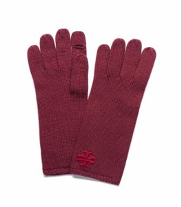 Tory Burch Tory Burch Womens Whipstitch Merino Wool Gloves Cordovan Red