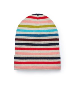 Tory Burch Tory Burch Women's Multi Colored Cashmere Striped Hat Beanie