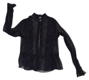 Sans Souci Blouse Out Button Down Shirt black
