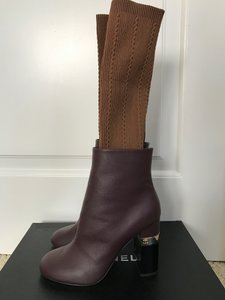 Chanel Leather Chunky Heel Burgundy Boots