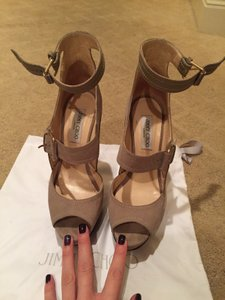 Jimmy Choo Iconic Celebrity Heel Beige Platforms