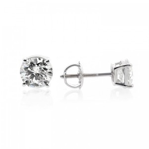 Avital & Co Jewelry 1.45 Carat Round Brilliant Cut Diamond Solitaire Stud Earrings 14k WG