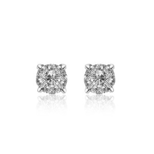 Avital & Co Jewelry Round Halo Diamond Stud Earrings in 18K White Gold