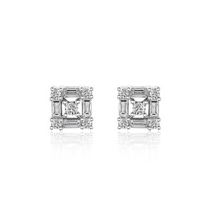 Avital & Co Jewelry 0.38 Carat Round Brilliant Baguette Cut Diamond Stud Earrings 14k WG