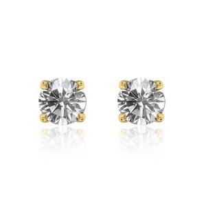 Avital & Co Jewelry 0.79 Carat Round Brilliant Cut Diamond Solitaire Stud Earrings 14k YG