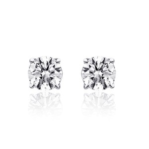 Avital & Co Jewelry 1.00 Carat Round Cut Diamond Solitaire Stud Earrings 14k WG