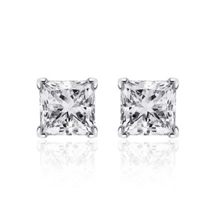 Avital & Co Jewelry 0.38 Carat Princess Cut Diamond Solitaire Stud Earrings 14k White Gold