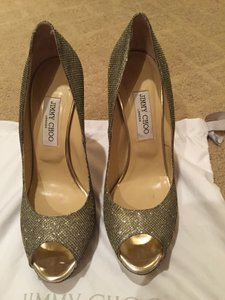 Jimmy Choo Holiday Designer Gold Glitter Pumps