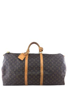 Louis Vuitton Gold Hardware Monogram Canvas Leather Brown Travel Bag