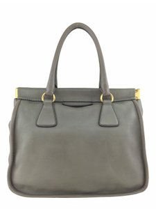 Prada Gold Hardware Logo Tote in Gray