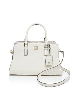 Tory Burch Saffiano Leather Tote in New Ivory and Tory Navy
