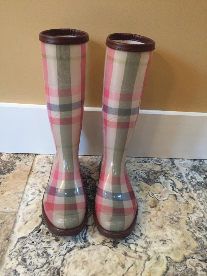 Burberry Rubber Pink Multi-color Women's House-check Rubber Burberry Wellies Boots/Booties 9c3cd2