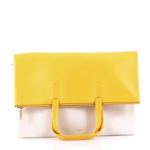 Céline Leather Satchel in Yellow and White
