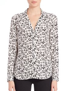 Equipment Leopard Print Silk Adalyn Button Down Shirt White & Black