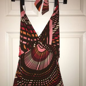 BCBGMAXAZRIA Pink Brown Halter Top