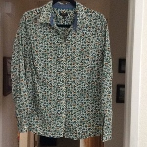 Talbots Button Down Shirt Cream or off-white, with greens, golds, teals, and browns printed