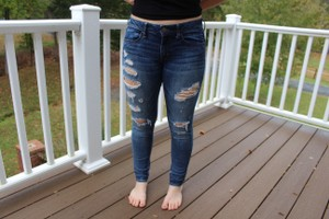 American Eagle Outfitters Stretch Distressed Skinny Jeggings-Distressed