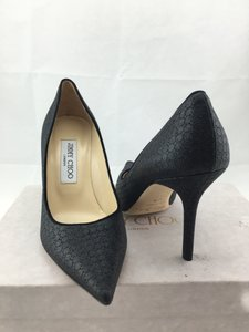 Jimmy Choo Pointed Toe Agnes Romy Black Embossed Glitter Pumps