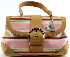 Coach Canvas Casual Leather Satchel in Multi color