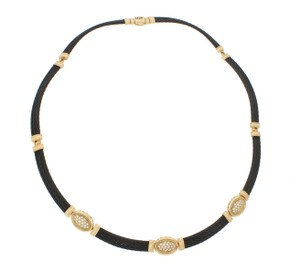 Charriol Charriol Celtic Noir 18k Gold Diamond Cable Hinged Choker Necklace