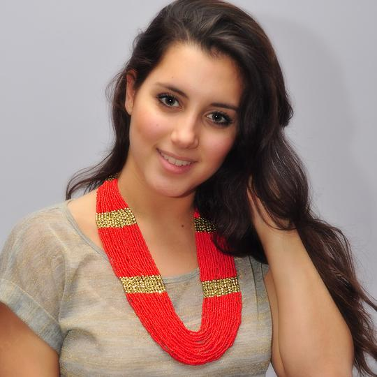 Amrita Singh Amrita Singh Boho Bead Ruby And Gold Necklace