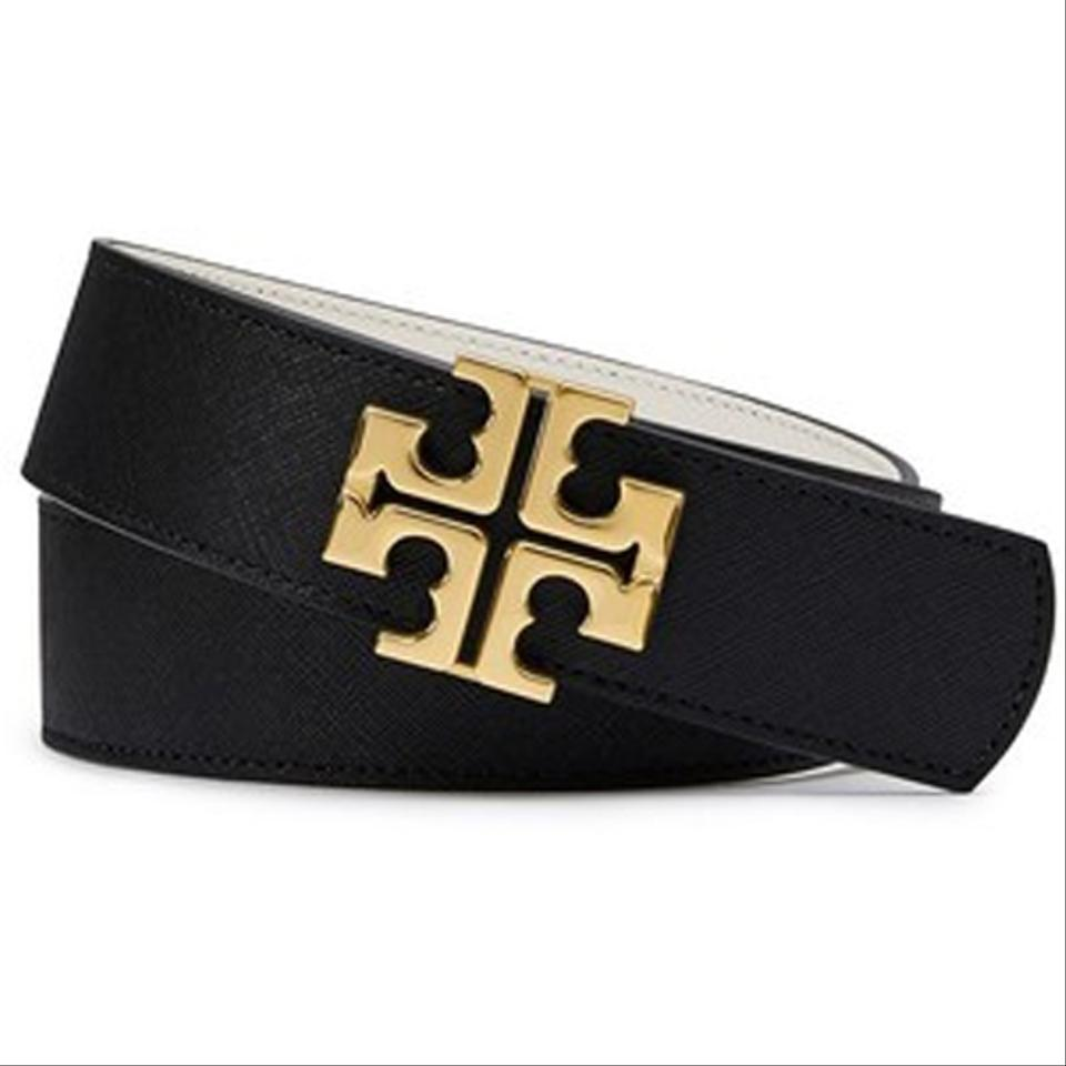 fba8980d8c1c Tory Burch Tory Burch Leather Reversible Belt TB Logo - Black Ivory - Small  Image