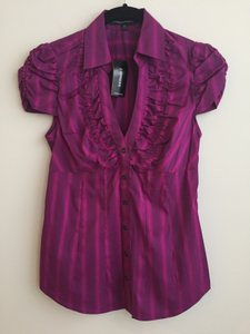 Express Puff Sleeve Work Shirt Button Down Shirt Fuschia