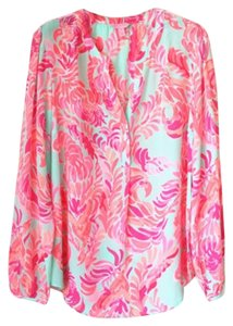 Lilly Pulitzer Silk Pink Blue Top