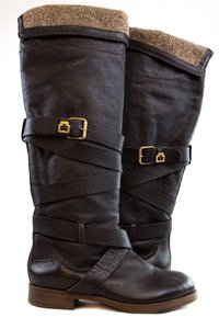 Chloé Chloe Leather Kneehigh Brown Boots