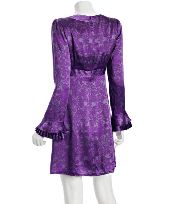 Nanette Lepore Silk Royal Ruffle New Size 4 Size 6 Violet Lavender Gray Baroque V-neck Empire Waist Pleated Pleats Silk Charmeuse Dress
