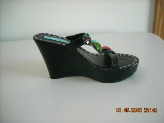 Charles David BLACK WITH COLORED STONES Wedges