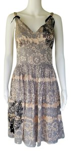 4 Love and Liberty short dress Gray and Pink Burnout Silk Charm on Tradesy