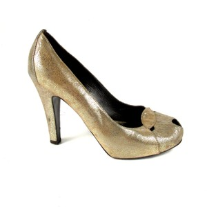 Fendi Metallic Peep Toe Heels Gold Pumps